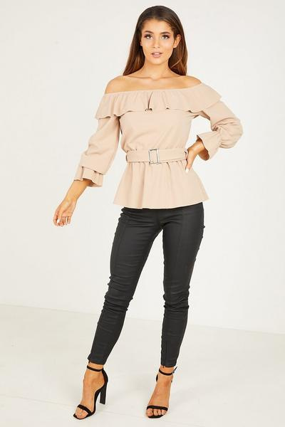 Stone Crepe Long Sleeve Top