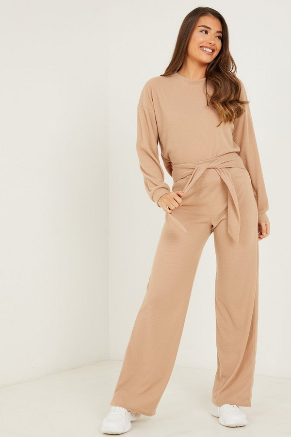 Stone Ribbed Tie Waist Trousers
