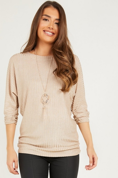 Gold Ribbed Batwing Necklace Top