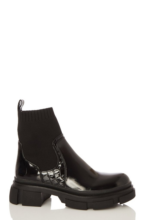 Black Patent Sock Chelsea Boot