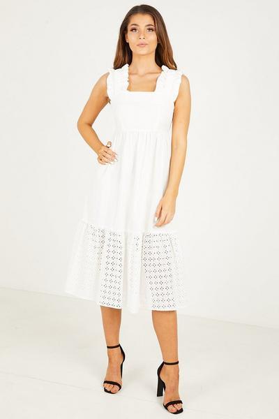 Cream Poplin Frill Dress
