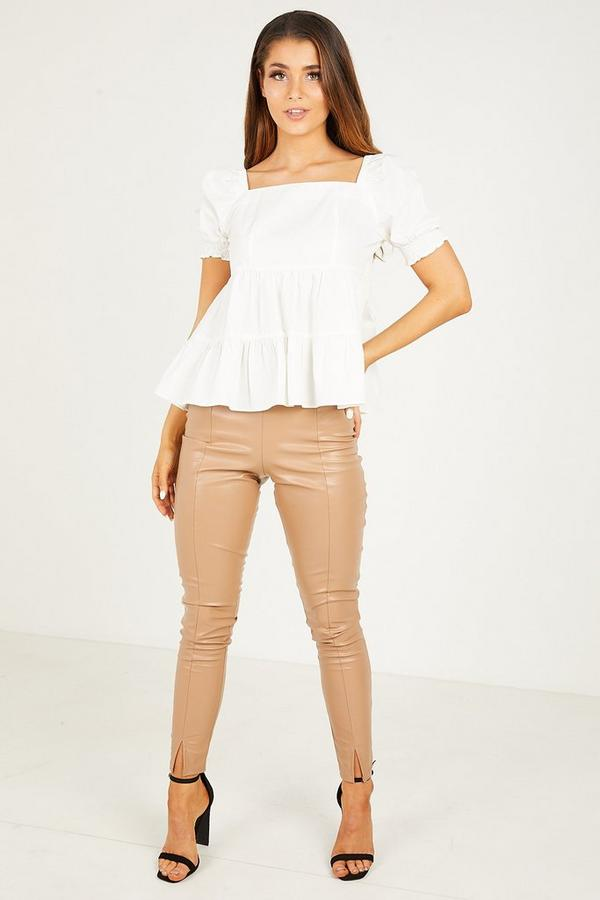 Cream Square Neck Puff Sleeves Peplum Top