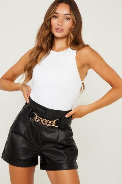 Black Faux Leather High Waist Shorts