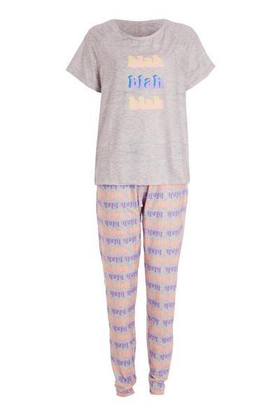 Pink 'Blah' Long Pyjama Set