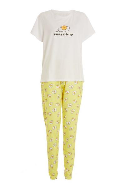 Yellow Slogan Long Pyjama Set