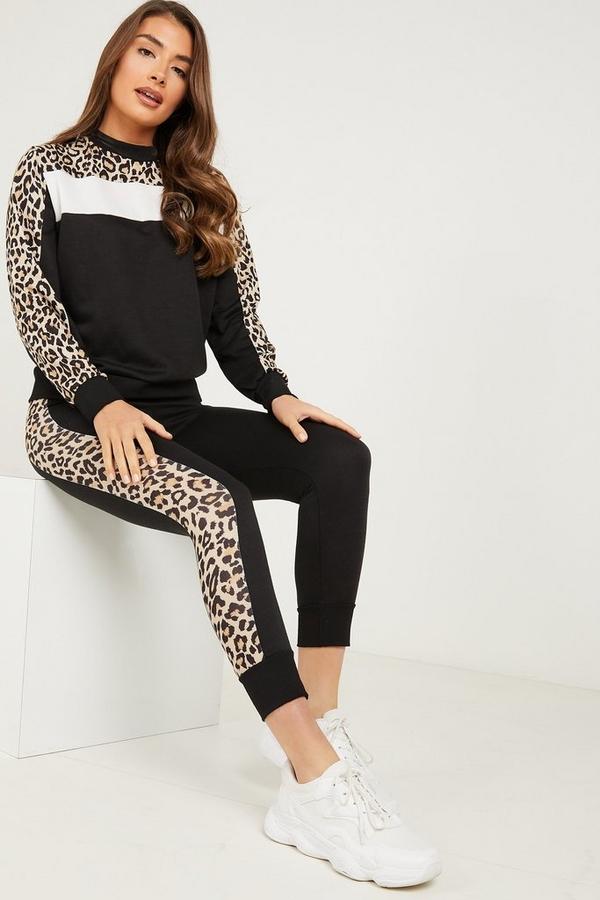 Black Leopard Print Stripe Leggings