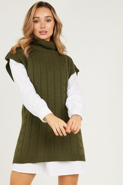 Khaki Cable Knit Tunic