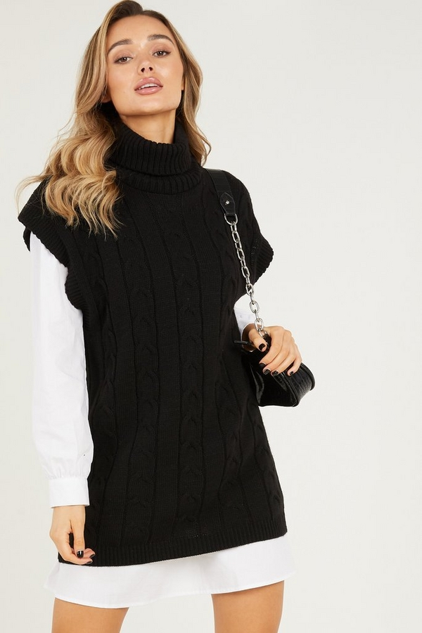 Black Cable Knit Tunic