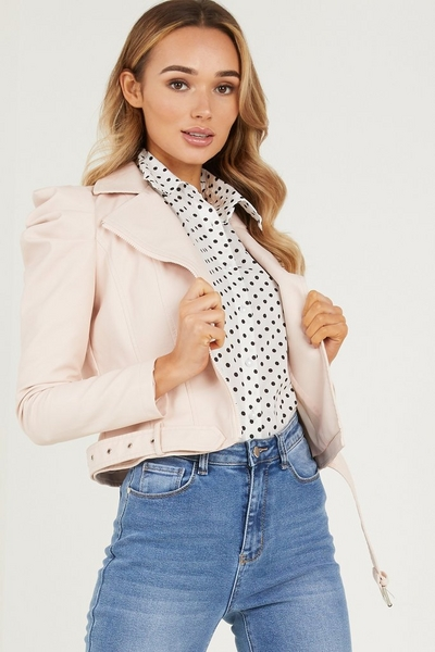 Pink Faux Leather Puff Sleeve Jacket