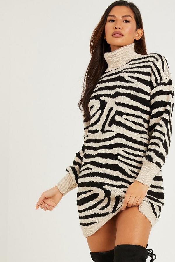 Stone Animal Print Knitted Jumper Dress
