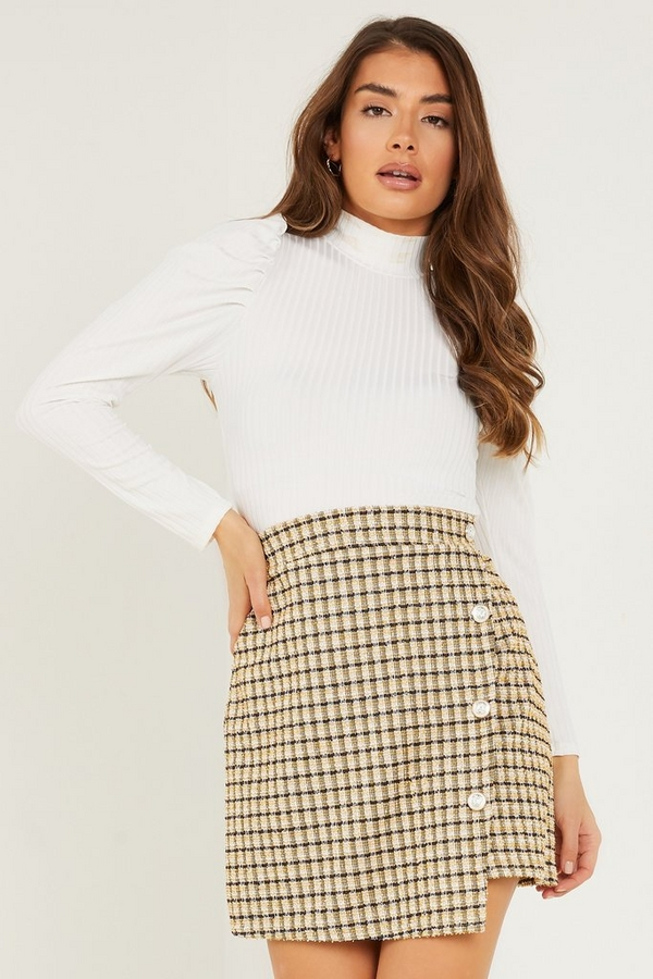 Mustard Check Mini Skirt