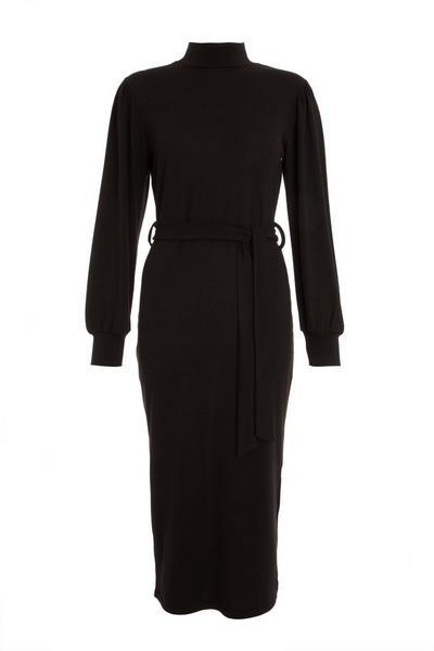 Black Light Knit Midi Dress