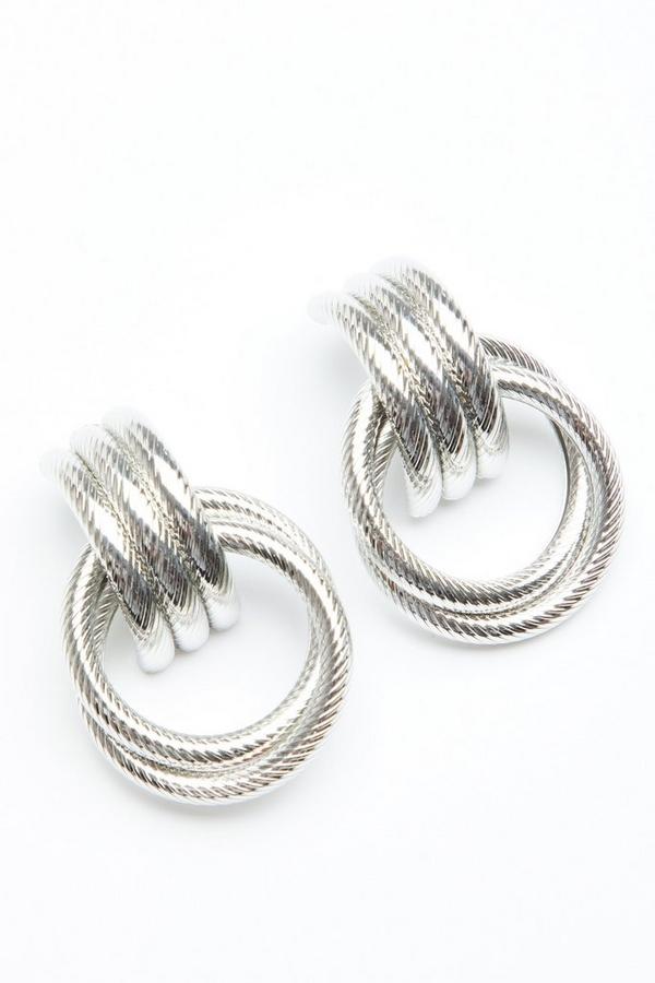 Silver Textured Hoop Drop Earring
