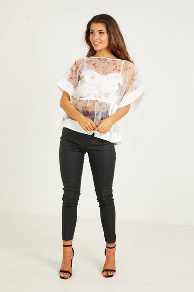 Cream/Red Organza Printed Batwing Belted Top
