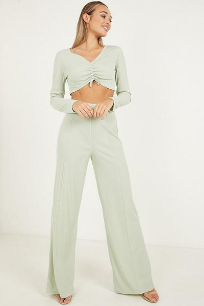 Sage Ribbed Palazzo Trousers