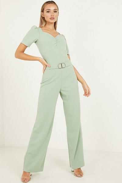 Sage Buckle Palazzo Trouser