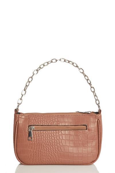 Pink Crocodile Print Shoulder Bag