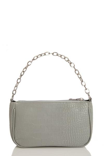 Grey Crocodile Print Shoulder Bag