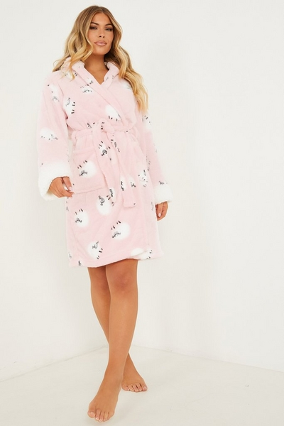 Pink Sheep Print Fluffy Robe