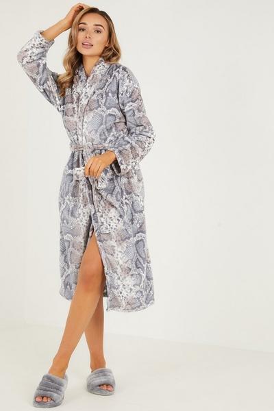 Snake Print Fleece Robe