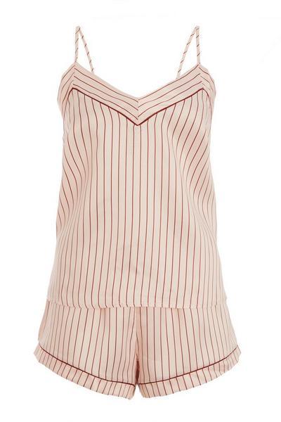 Pink Stripe Cami Short Pyjama Set