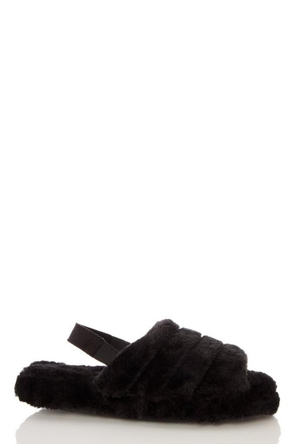 Black Faux Fur Mule Slippers