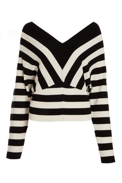 Black Stripe Cropped Jumper