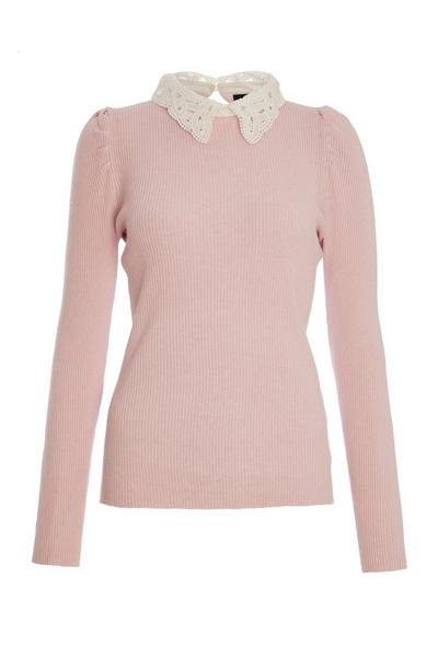 Pink Ribbed Crochet Collar Top