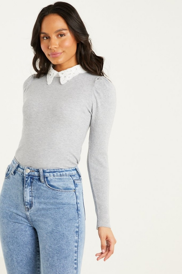 Grey Ribbed Crochet Collar Top