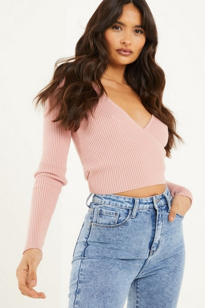 Pink Knitted Wrap Jumper