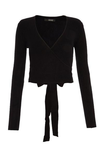 Black Knitted Wrap Jumper