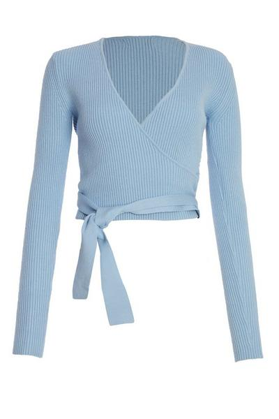 Blue Knitted Wrap Jumper
