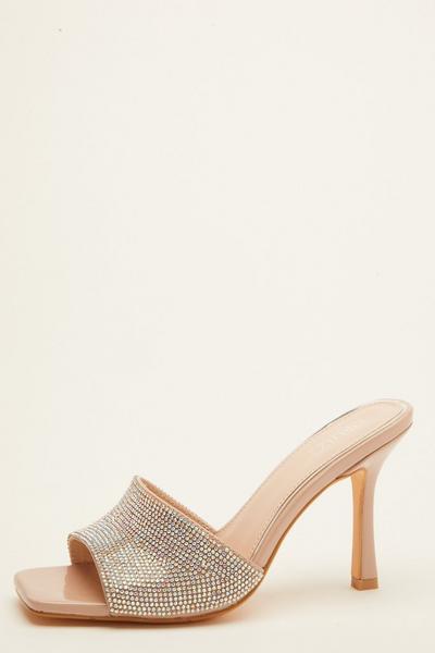 Nude Diamante Heeled Mule Sandal