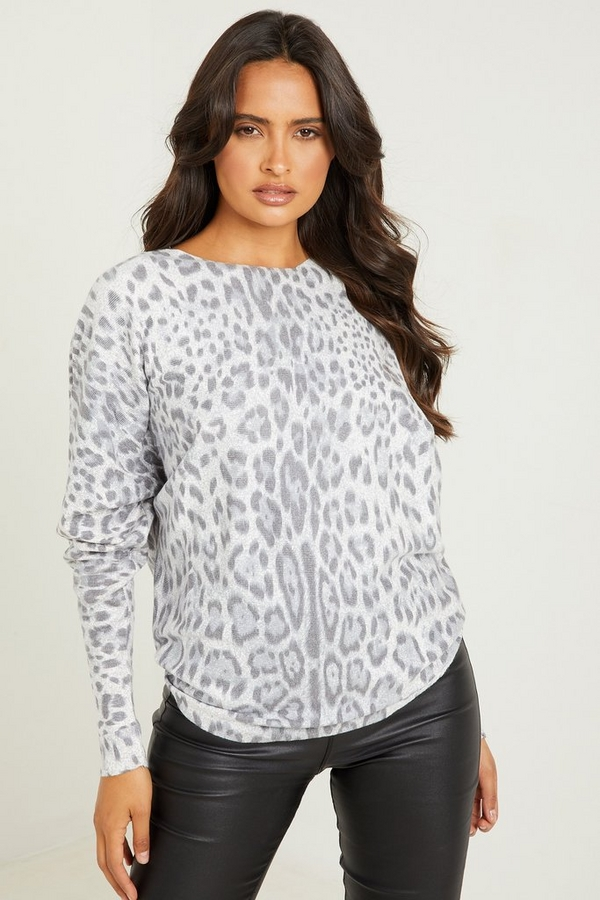Grey Knitted Leopard Print Top