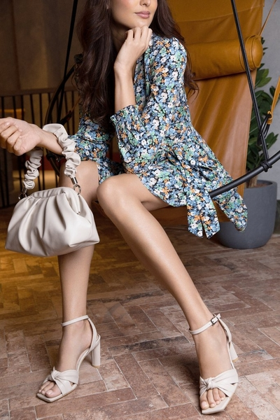 Nude Faux Leather Heeled Sandals
