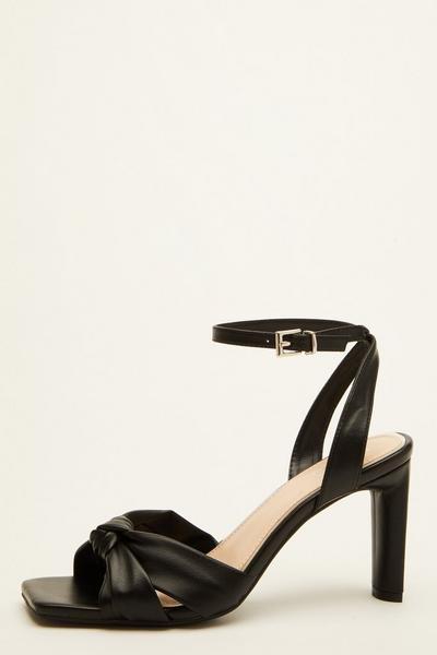 Black Faux Leather Heeled Sandals