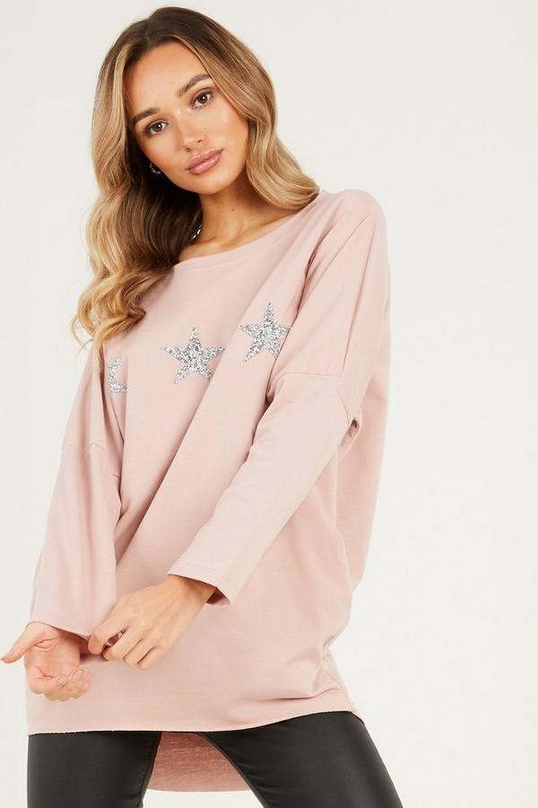 Pink Glitter Star Top