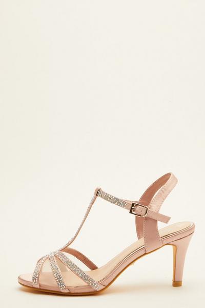 Pink Embellished Heeled Sandal