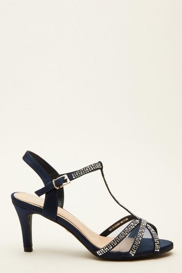 Navy Satin Embellished Heeled Sandal