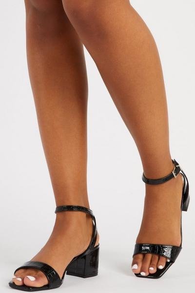 Black Crocodile Print Heeled Sandal
