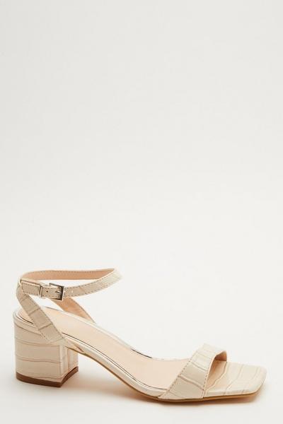 Nude Crocodile Print Heeled Sandal