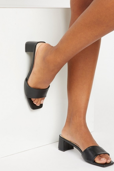 Black Faux Leather Heeled Mule Sandals
