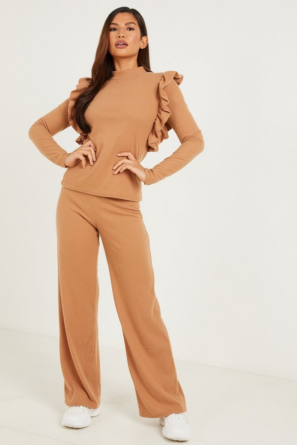 Camel Ribbed Palazzo Trousers
