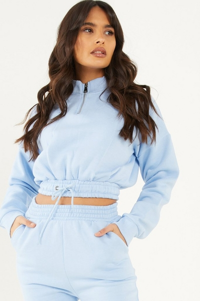 Blue Zip Cropped Sweatshirt