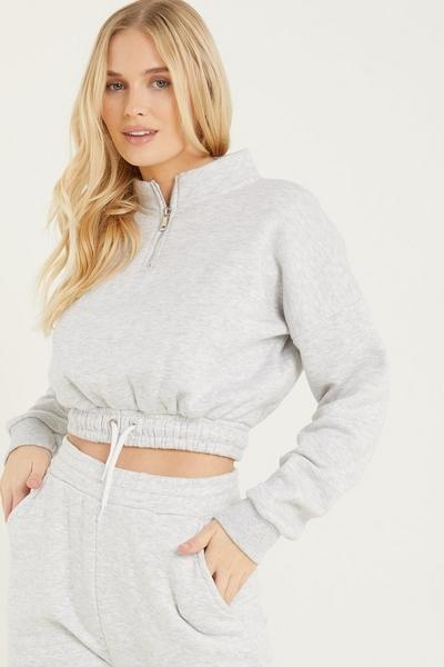 Grey Zip Cropped Sweatshirt