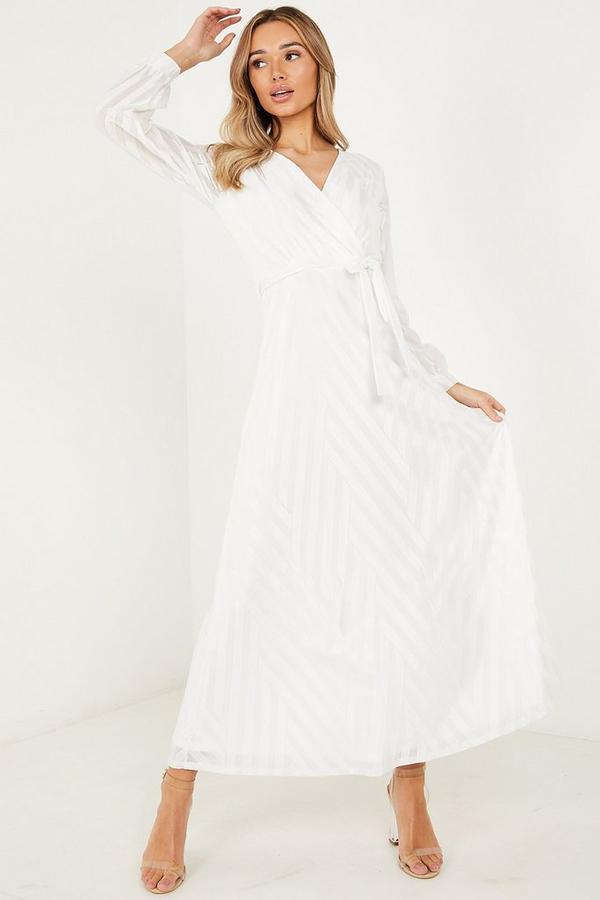 Mesh Wrap Long Sleeves Maxi Dress