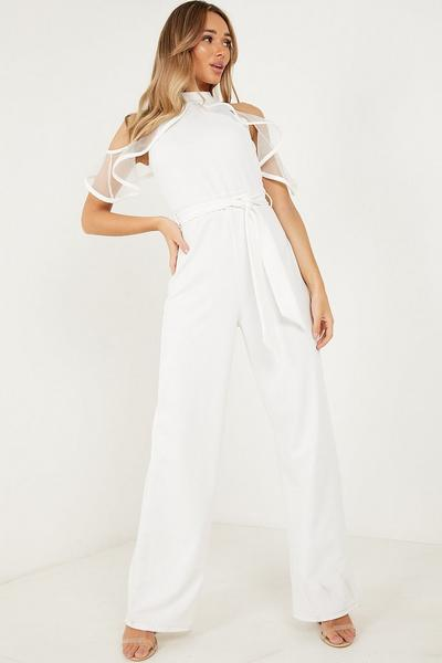 Cream High Neck Organza Frill Palazzo Jumpsuit