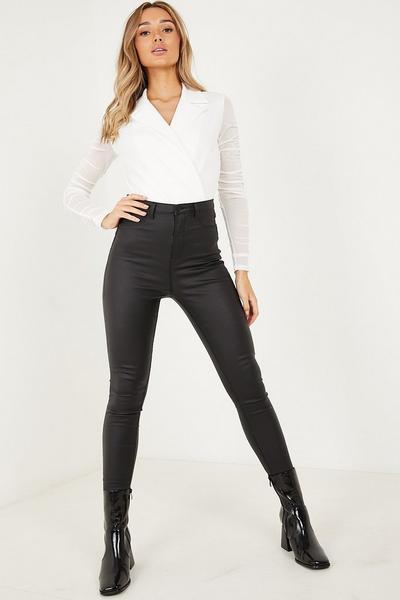Cream Mesh Wrap Long Sleeves Bodysuit