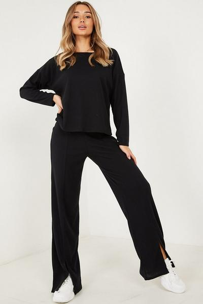 Black Rib off Shoulder Long Sleeves Top