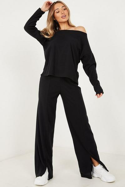 Black Ribbed Front Split Trouser